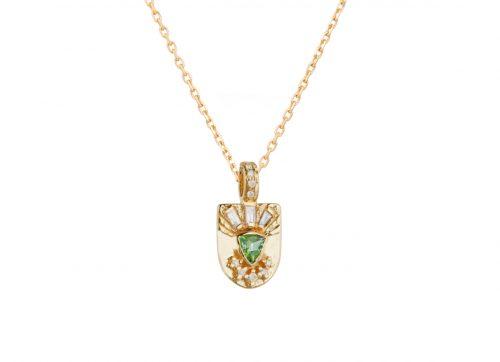 Celine Daoust Guardian Spirit Totem Tourmaline Triangle and Diamonds Necklace