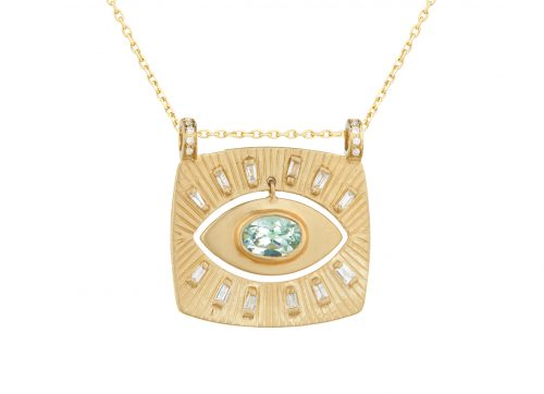 Celine Daoust Protection and Believes Yellow Gold Plate Diamonds and Dangling Tourmaline Eye Necklace