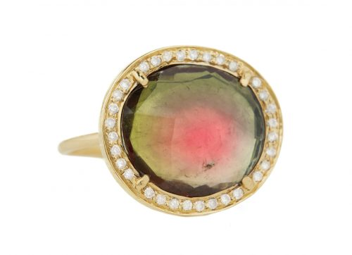Celine Daoust One of a Kind Watermelon Tourmaline and Diamond Stella Ring