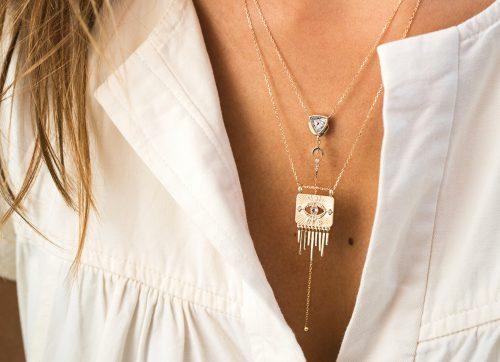 Celine Daoust Guardian Spirit Tourmaline and Diamonds Totem Chain Necklace
