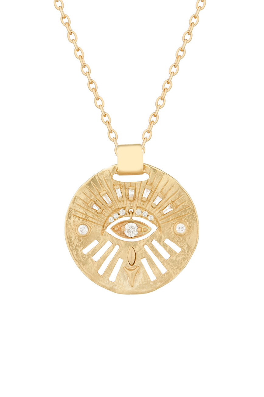 Celine Daoust Protection and Believes Yellow Gold Medal Diamonds and Dangling Eye Necklace