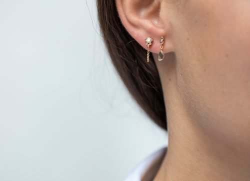 Celine Daoust Protection and Believes Marquise moonstone and tubes diamonds single chain Earring