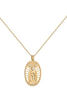 Celine Daoust From The Earth Yellow Gold Scarab Medal Diamonds Necklace