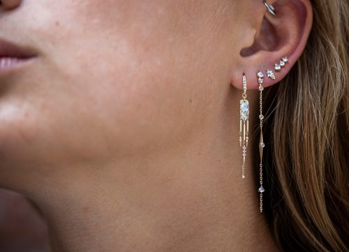 Celine Daoust Moonstone Power Yellow Gold Moonstones and Dangling Details and Diamonds Set Earrings
