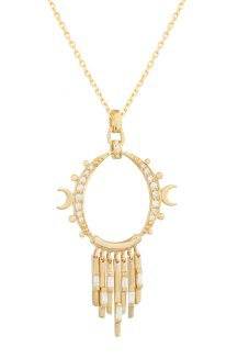 Celine Daoust Guardian Spirit Yellow Gold Diamonds Gate with Dangling Details and Moons Necklace