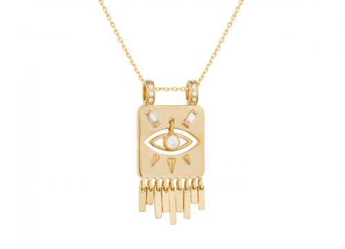Celine Daoust Guardian Spirit Yellow Gold Plate Diamonds and Dangling Eye Diamond Totem Chain Necklace