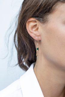 Celine Daoust Guardian Spirit Yellow Gold Tourmaline and Diamonds Dangling Details Earring