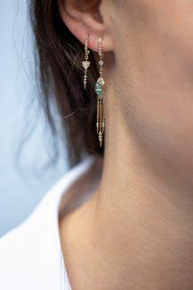 Celine Daoust Guardian Spirit Yellow Gold Eye Diamond and Dangling Details Earring Set