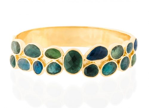 Celine Daoust One of a Kind Multi Green Tourmaline Large Bangle