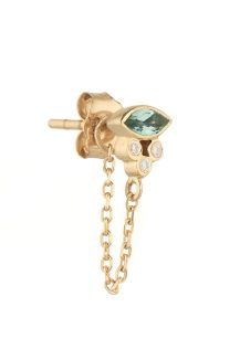 Celine Daoust Protection and Believes Marquise tourmaline and tubes diamonds single chain Earring