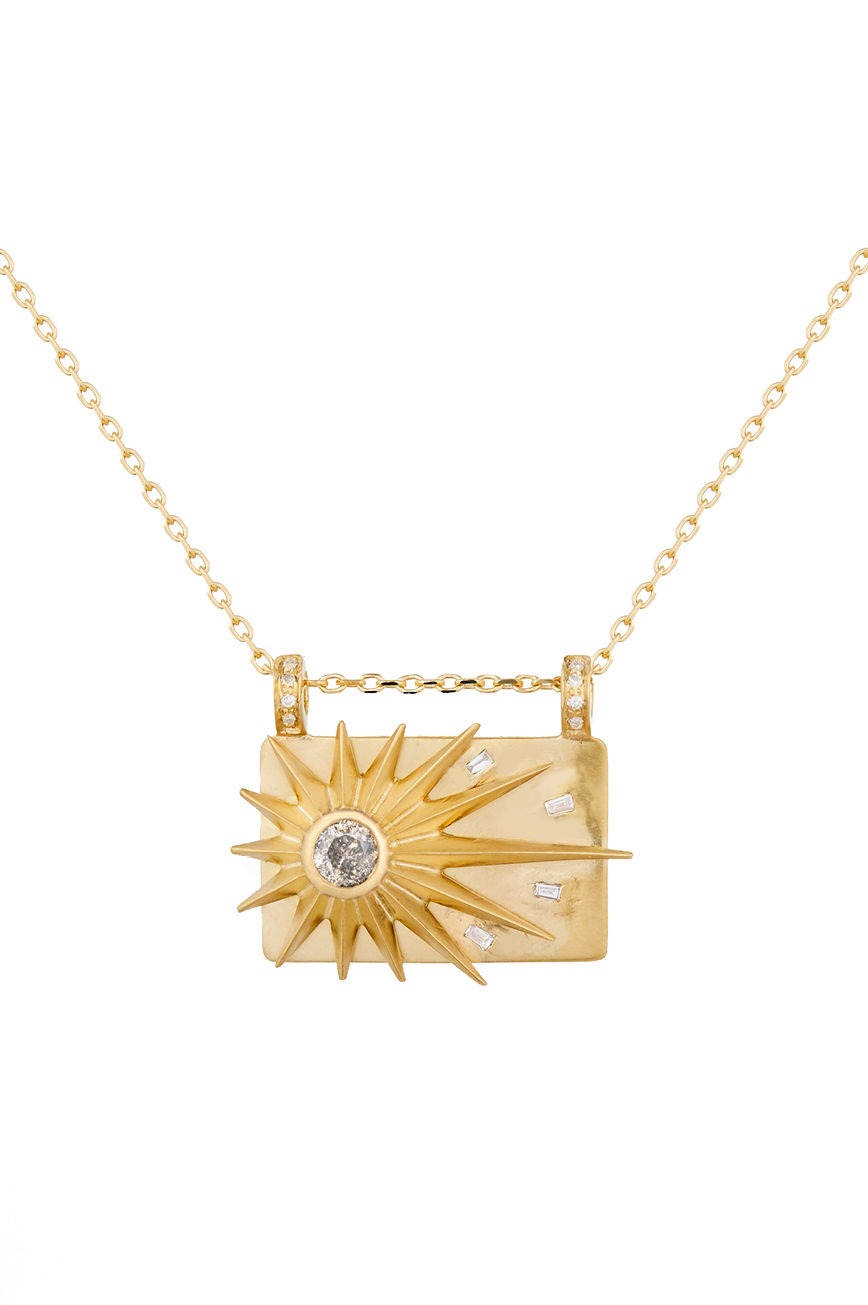 Celine Daoust Stars and Universe Full Sun Diamonds Plate Chain Necklace