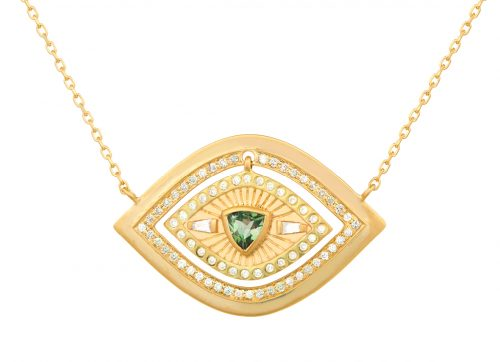 Celine Daoust Guardian Spirit Yellow Gold Plate Eye Diamonds and Dangling Tourmaline Eye Necklace