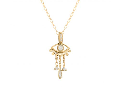Celine Daoust Guardian Spirit Yellow Gold Eye and Dangling Details Necklace