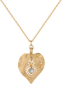 Celine Daoust Guardian Spirit Yellow Gold Heart with Moonstone Heart on fire and Diamonds