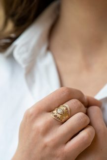 Celine Daoust Protection and Believes Marquise Diamond Ring