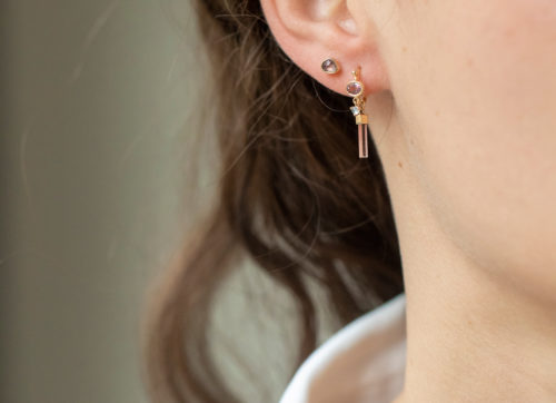 Celine Daoust One of a Kind Tourmaline pencil and moonstone Hoop Earring
