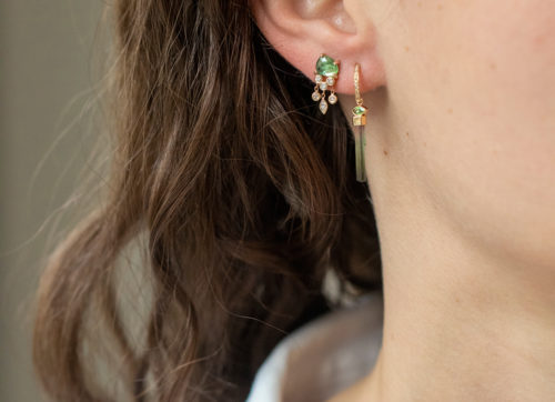 Celine Daoust One of a Kind Tourmaline pencil and diamond Single Hoop Earring