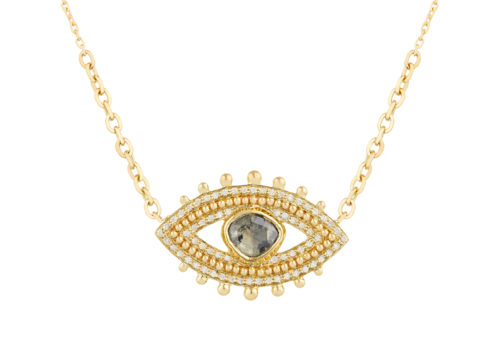 Celine Daoust Slice of the Universe Grey diamond eye diamonds and gold balls Necklace