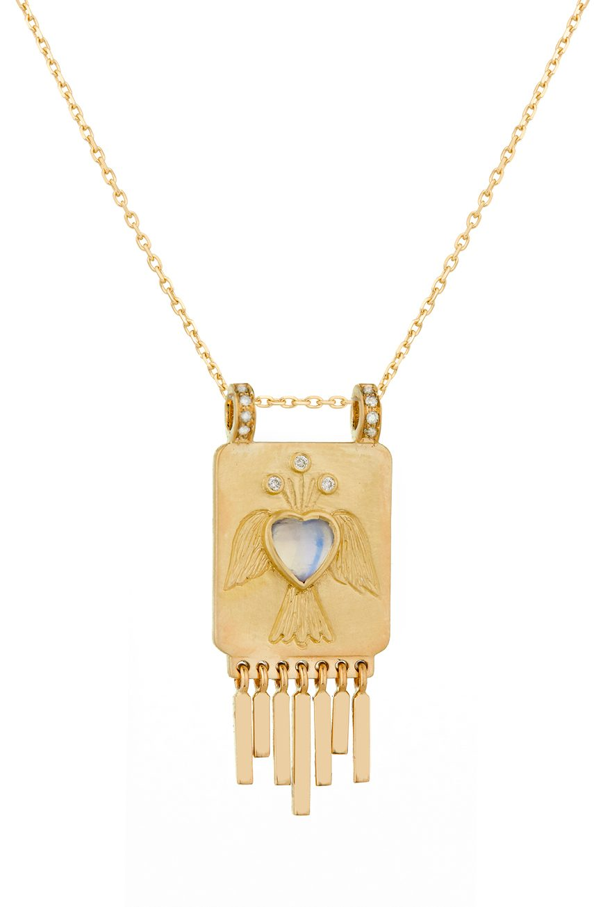 Celine Daoust Guardian Spirit Moonstone Heart and Diamonds Totem Chain Necklace