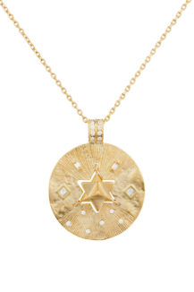 Celine Daoust Protection and Believes Yellow Gold Medal Diamonds and Dangling Star Necklace