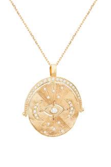 Celine Daoust Mandala Yellow Gold Medal Diamonds and Dangling Eye Necklace