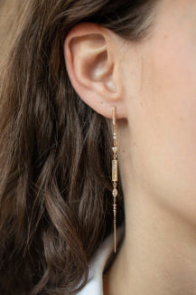 Celine Daoust Mandala Baguets and Marquise diamonds Long Single Earring