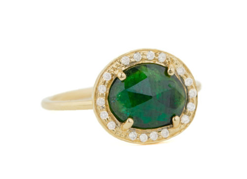 Celine Daoust One of a Kind Green Tourmaline and Diamond Stella Ring.