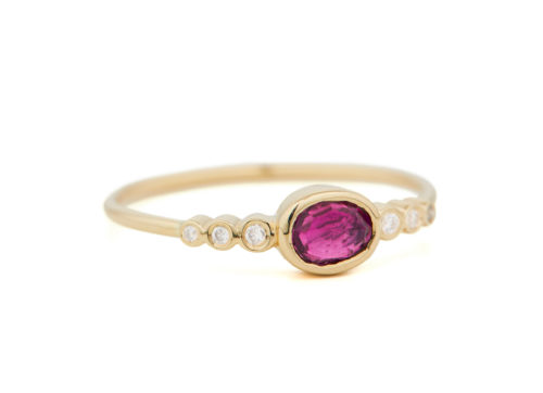 Celine Daoust One of a Kind Central PinkTourmaline and tube Diamonds Ring.