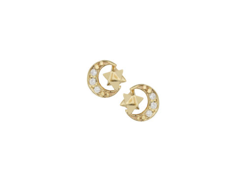 Celine Daoust Merkabah Moon & Star diamonds Earring set