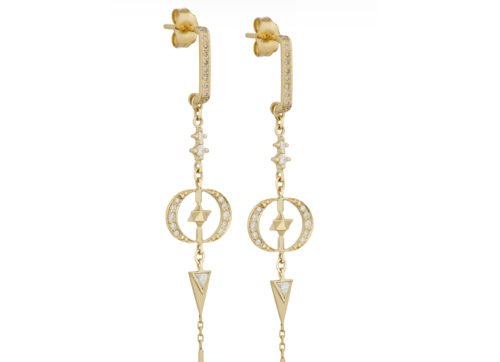 Celine Daoust Merkabah & Diamonds Moons with Dangling Details Earring