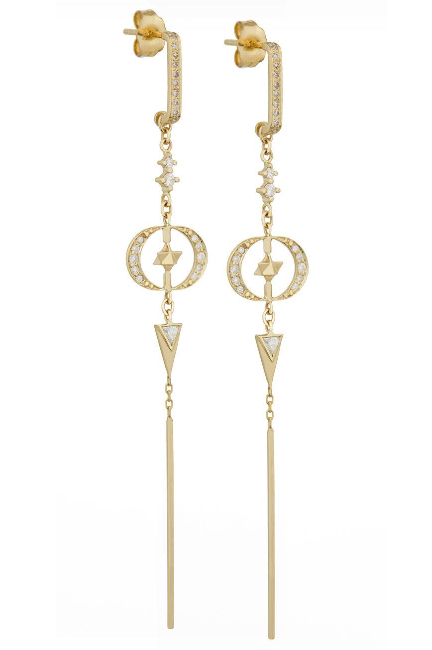 Celine Daoust Merkabah & Diamonds Moons with Dangling Details Earring