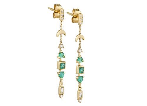 Celine Daoust One of a Kind Emerald and diamonds Earrings