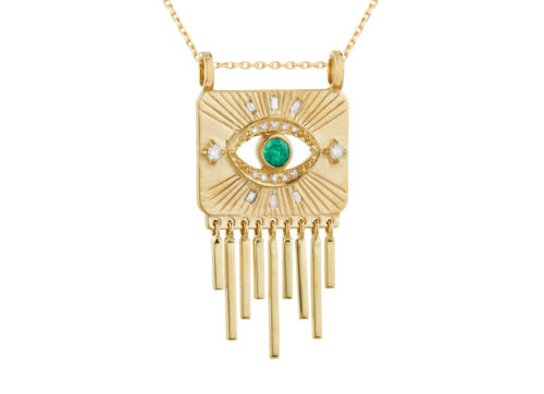 Celine Daoust Guardian Spirit Emerald and Diamonds Totem Chain Necklace