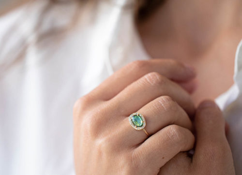 Celine Daoust One of a Kind Green Tourmaline and Diamond Stella Ring