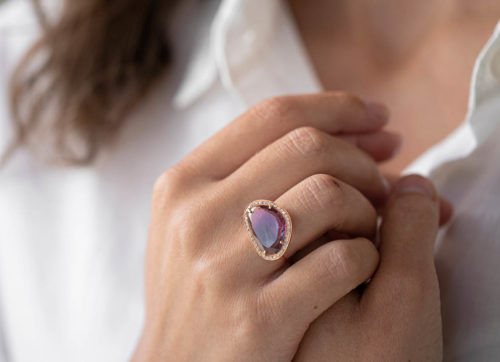 Celine Daoust One of a Kind Pink Tourmaline and Diamond Stella Ring