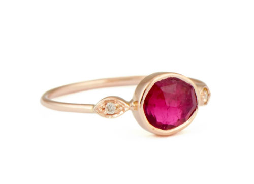 Celine Daoust One of a Kind Pink Tourmaline with two Diamond Eyes Ring.