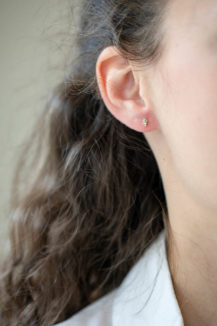 Celine Daoust One of a Kind small Grey Diamond triangle and Rosecut Single Earring Stud