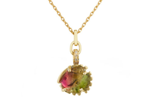 Celine Daoust One of a Kind Fish Tourmaline and Diamonds Necklace