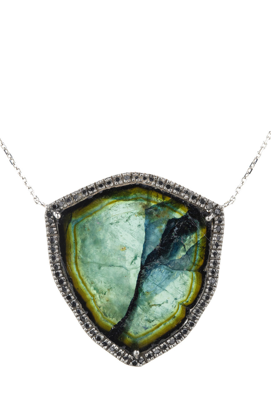 Celine Daoust One of a Kind Stella Tourmaline and Black Diamonds Necklace