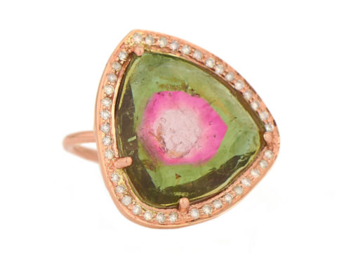 Celine Daoust One of a Kind Stella Pink and Green Tourmaline and Diamond Ring