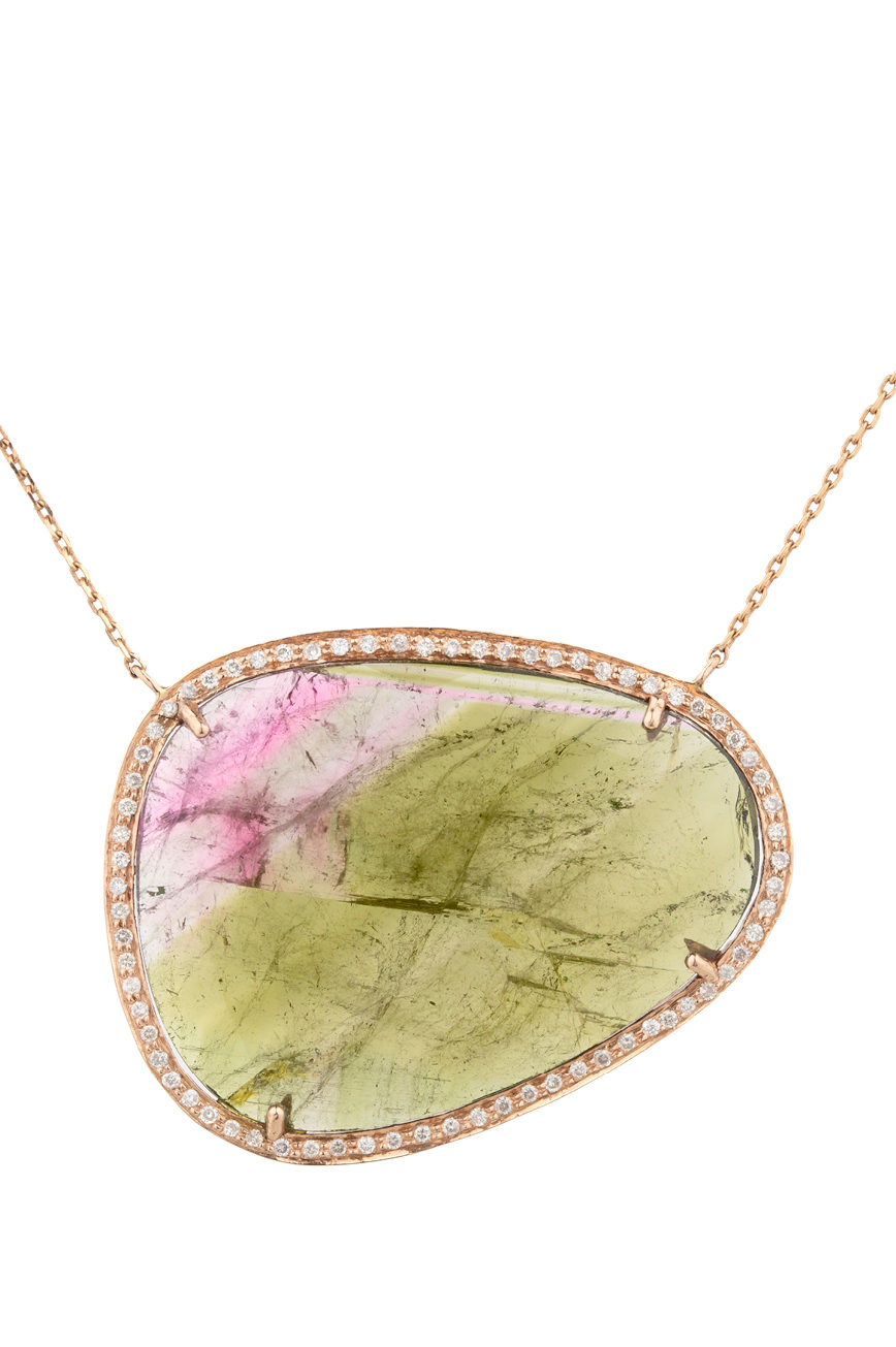 Celine Daoust One of a Kind Watermelon Tourmaline and Diamond Stella Necklace