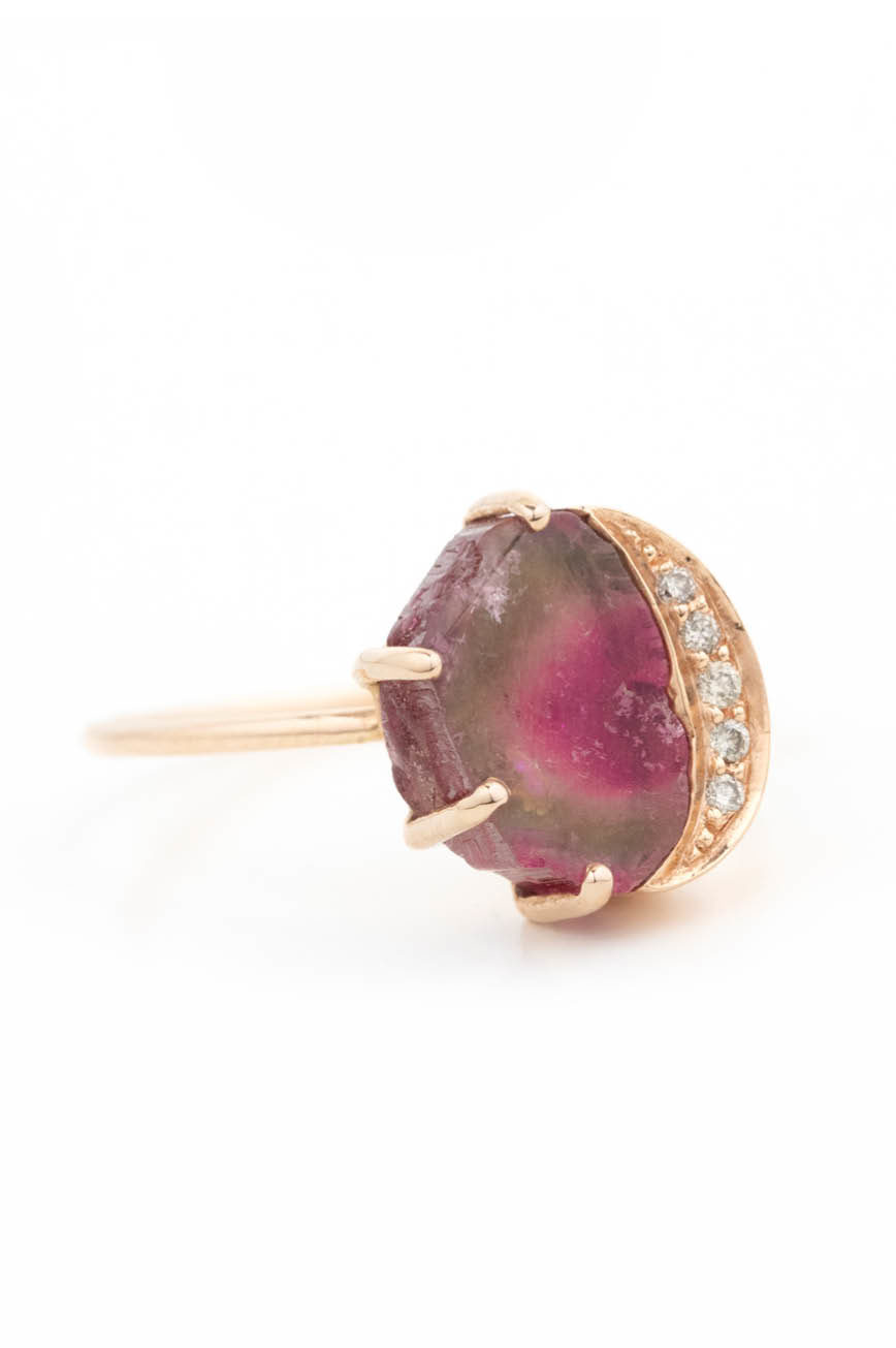 Celine Daoust One of a Kind Healing Watermelon Tourmaline and Diamonds Ring