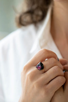 Celine Daoust One of a Kind Healing Tourmaline and Black Diamonds Ring