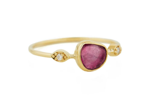 Celine Daoust One of a Kind Tourmaline with Two Diamonds Eyes Ring.