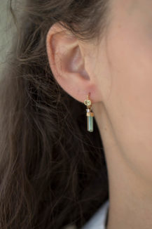 Celine Daoust_One of a Kind Tourmaline pencil and moonstone Hoop Earring
