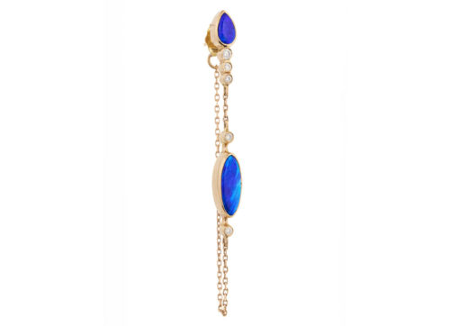 Celine Daoust_One of a kind Opals and tube Diamonds Single Chain Earring
