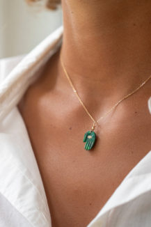 Celine Daoust Protection and Believes Azurite & diamond eye Protection Hand Necklace