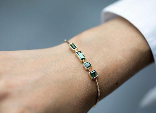 Celine Daoust One of a Kind Multi Baguette Blue Tourmaline Articulated Bracelet