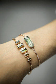 Celine Daoust One of a Kind Tourmaline and diamonds flush articulated bracelet