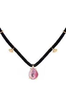 Celine Daoust One of a Kind Pink Tourmaline prong setting and diamond eyes Thread Necklace